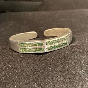 Vintage (1975) Pewter/Green Stone Bracelet
